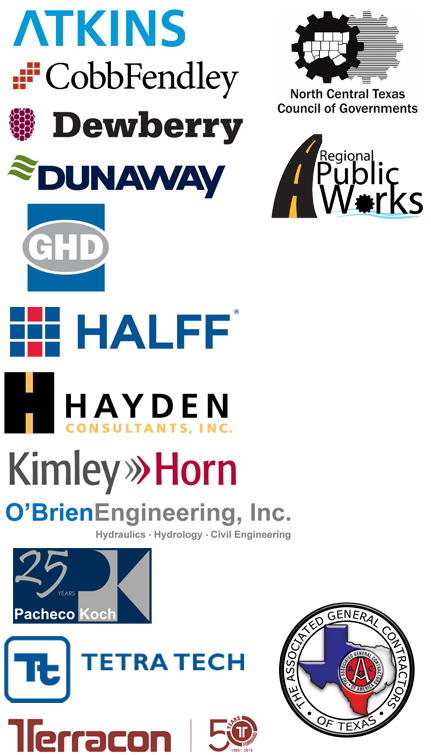 Atkins, Cobb Fendly, Dewberry, Dunaway Associates, GHD Inc., Halff, Hayden Consultants, Kimley Horn, O'Brien Engineering, Pacheco Koch, Tetra Tech, Terracon, The Associated General Contractors of Texas