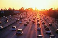 freeway traffic and sunrise