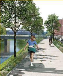 Rendering of Trinity Strand Trail tree-lined sidewalk along the Trinity River