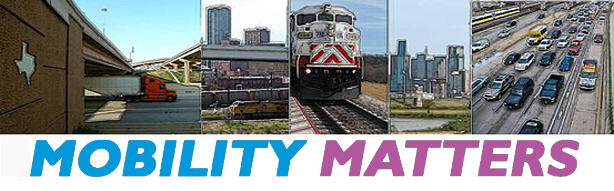 Mobility Matters - Images of a freight truck traveling on a highway, downtown Fort Worth, a TRE locomotive, downtown Dallas skyline and highway traffic; Celebrating 35 Years of Regional Transportation Excellence, 1974 - 2009